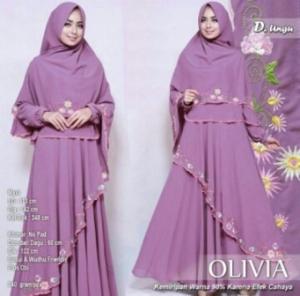 Jual Gamis Muslimah Olivia Syar'i Warna Ungu Bahan Wollycrepe