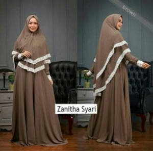 Jual Grosir Gamis Zanitha Syar'i Terbaru Warna Brown Bahan Bubblepop