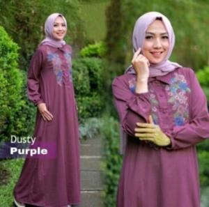 Jual Online Busana Muslim Murah Misha Warna Dusty Purple Bahan Baloteli