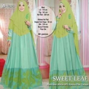 Suplier Baju Gamis Cantik Sweet Leaf Syar'i Warna Hijau Tosca Bahan Balotelifes