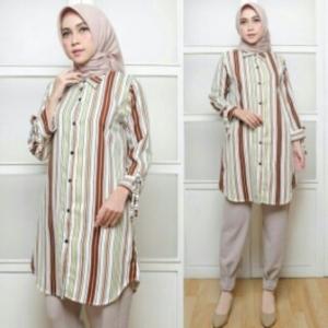 Supplier Baju Atasan Wanita Muslim Modern Agata Warna Brown Bahan Rami Lokal