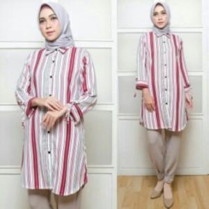 Supplier Baju Atasan Wanita Muslim Modern Agata Warna Pink Bahan Rami Lokal