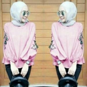 Supplier Baju Atasan Wanita MuslimTerkini Nada Blouse Warna Pink Bahan Wollycrepe