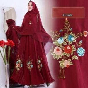 Supplier Baju Gamis Cantik Armele Syar'i Warna Maroon Untuk Pesta Bahan Ceruty