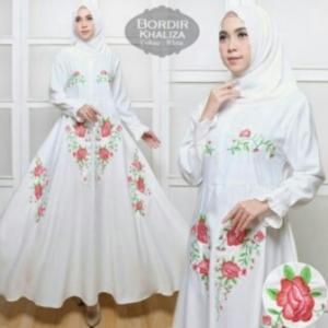 Supplier Baju Gamis Cantik Khaliza Syar'i Warna Putih Bahan Baloteli