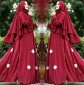 Supplier Baju Gamis Pesta Kirani Syar'i Warna Maroon Bahan Ceruty Di Tangerang Dan Bekasi
