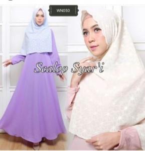 Supplier Baju Muslim Wanita Scalop Syar'i Bahan Crepe Dilapisi Furing