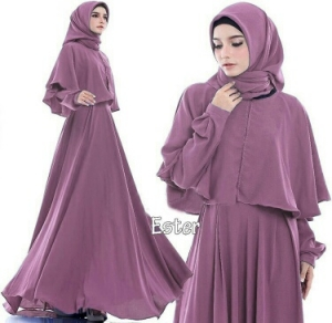 Supplier Busana Muslim Terbaru Ester Warna Dusty Purple Bahan Pacote