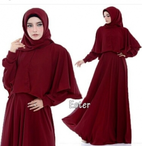 Supplier Busana Muslim Terbaru Ester Warna Maroon Bahan Pacote