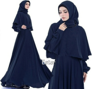 Supplier Busana Muslim Terbaru Ester Warna Navy Bahan Pacote