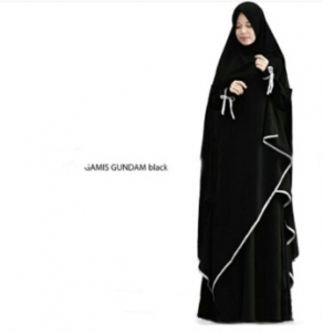 Supplier Gamis Gundam Syar'i Warna Black Bahan Wollycrepe