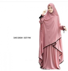 Supplier Gamis Gundam Syar'i Warna Dusty Pink Bahan Wollycrepe