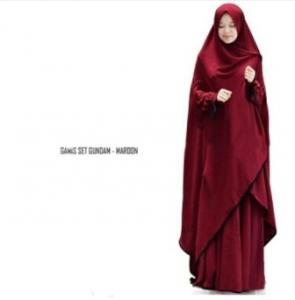 Supplier Gamis Gundam Syar'i Warna Maroon Bahan Wollycrepe
