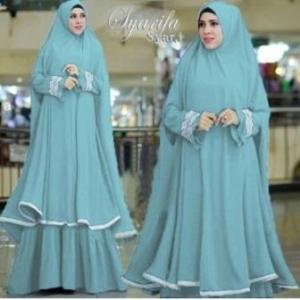 Supplier Gamis Muslimah Syarifa Syar'i Warna Dusty Blue Bahan Bubblepop