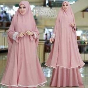 Supplier Gamis Muslimah Syarifa Syar'i Warna Dusty Peach Bahan Bubblepop