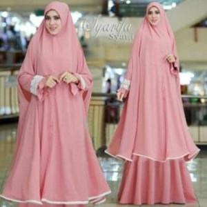 Supplier Gamis Muslimah Syarifa Syar'i Warna Peach Bahan Bubblepop