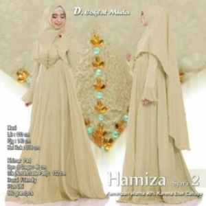 Supplier Gamis Terbaru Hamiza Syar'i Warna Coklat Bahan Bubble Pop Embos