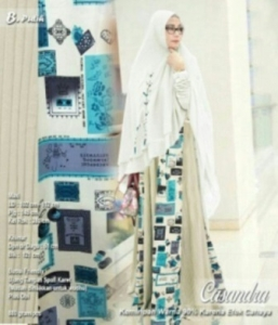 Baju Gamis Murah Dan CAntik Casandra Syar'i Warna Putih Bahan Spandek Kombinasi