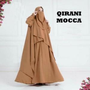 Baju Gamis Qirani Syar'i Warna Mocca Bahan Misbie