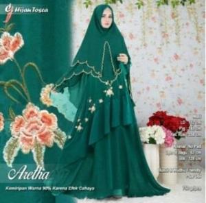 Baju Gamis Tanah Abang Untuk Pesta Online Aretha Syar'i Warna Hijau Tosca Bahan Ceruty Premium