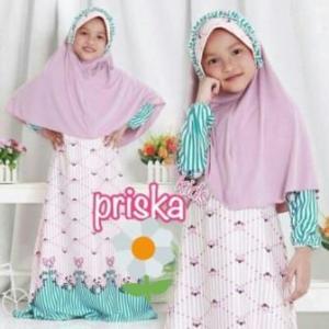 Baju Muslim Anak Perempuan Cantik Dan Lucu Prika Kids_2 Bahan Maxmara