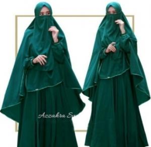 Baju Online Murah Berkualitas Azzahra Syar'i Warna Dark Green Bahan Woolpeach