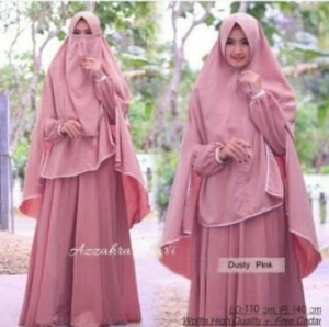 Baju Online Murah Berkualitas Azzahra Syar'i Warna Dusty Pink Bahan Woolpeach