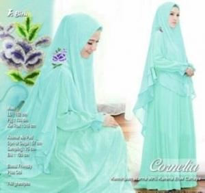 Butik Gaun Pesta Muslimah Cornelia Syar'i Warna Biru Bahan Ceruty Premium
