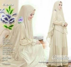 Butik Gaun Pesta Muslimah Cornelia Syar'i Warna Coklat Bahan Ceruty Premium