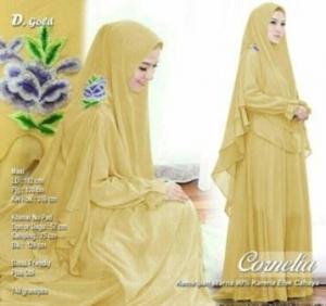 Butik Gaun Pesta Muslimah Cornelia Syar'i Warna Gold Bahan Ceruty Premium