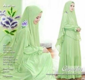 Butik Gaun Pesta Muslimah Cornelia Syar'i Warna Hijau Bahan Ceruty Premium