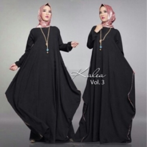 Distributor Baju Muslim Modern Kalea Dress Warna Black Bahan Wolly Crepe