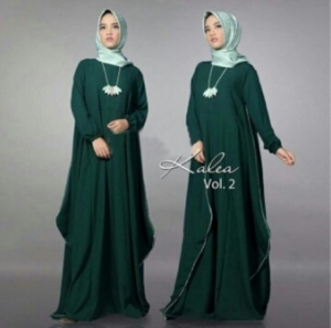 Distributor Baju Muslim Modern Kalea Dress Warna Dark Green Bahan Wolly Crepe