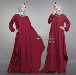 Distributor Baju Muslim Modern Kalea Dress Warna Maroon Bahan Wolly Crepe