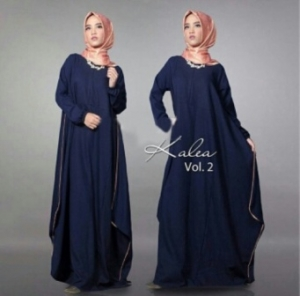 Distributor Baju Muslim Modern Kalea Dress Warna Navy Bahan Wolly Crepe