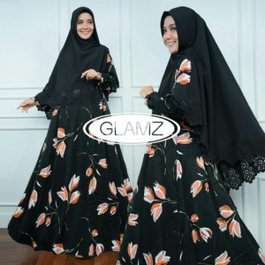 Distributor Baju Muslim Terbaru Navisha Syar'i Warna Black Bahan Maxmara
