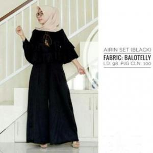 Distributor Busana Muslim Trendy Ukuran Kecil Airin Warna Black Bahan Baloteli