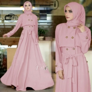 Gamis Busui Murah Elia Dress Warna Dusty Pink Bahan Torino
