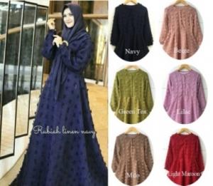 Gamis Pesta Premium Terbaru Rubiah Dress Bahan Linen