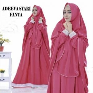 Gaun Pesta Muslimah Elegan Adeeva Syar'i Warna Fanta Bahan Misbie