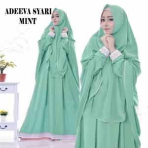 Gaun Pesta Muslimah Elegan Adeeva Syar'i Warna Mint Bahan Misbie