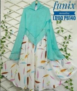 Jual Baju Gamis Cantik Terbaru Funix Syar'i Warna Hijau Tosca Bahan Monalisa
