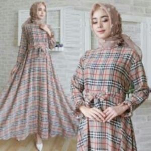 Jual Baju Gamis Terbaru Burberry Dress-4 Ukuran Kecil Bahan Katun Clark