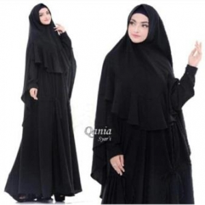 Jual Busana Muslim Terbaru Qania Syar'i Warna Black Bahan Bubblepop