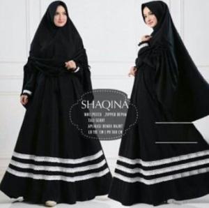 Jual Grosir Baju Gamis Shaqina Syar'i Terbaru warna Black bahan Woolpeach