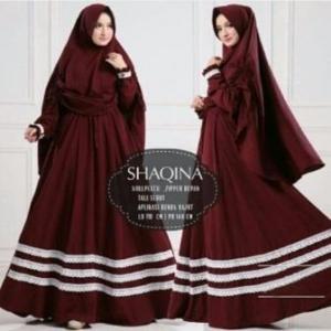 Jual Grosir Baju Gamis Shaqina Syar'i Terbaru warna Maroon bahan Woolpeach