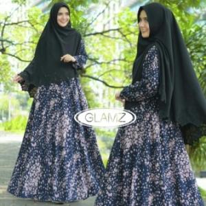 Jual Grosir Baju Gamis Terbaru Sakura Syar'i Warna Navy Bahan Pendi