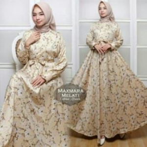 Jual Grosir BusanaMuslim Terbaru Melati Dress-3 Bahan Maxmara