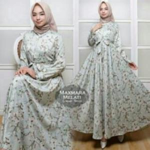 Jual Grosir BusanaMuslim Terbaru Melati Dress-4 Bahan Maxmara