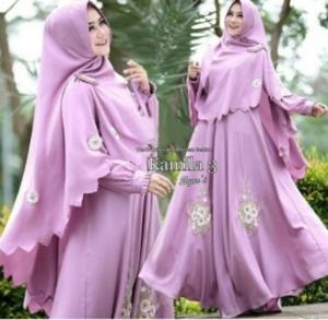 Jual Grosir Gamis Muslimah Kamila Syar'i Warna Dusty Pink Bahan Woolpeach